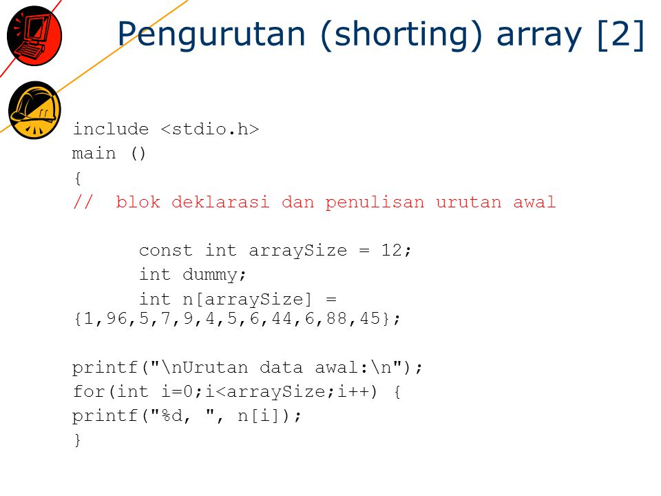 Pengurutan (shorting) array [2]